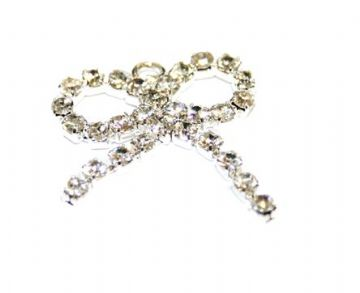 5pces x 20mm*20mm silver plated ribbon charms with rhinestone - diamante - 8010014